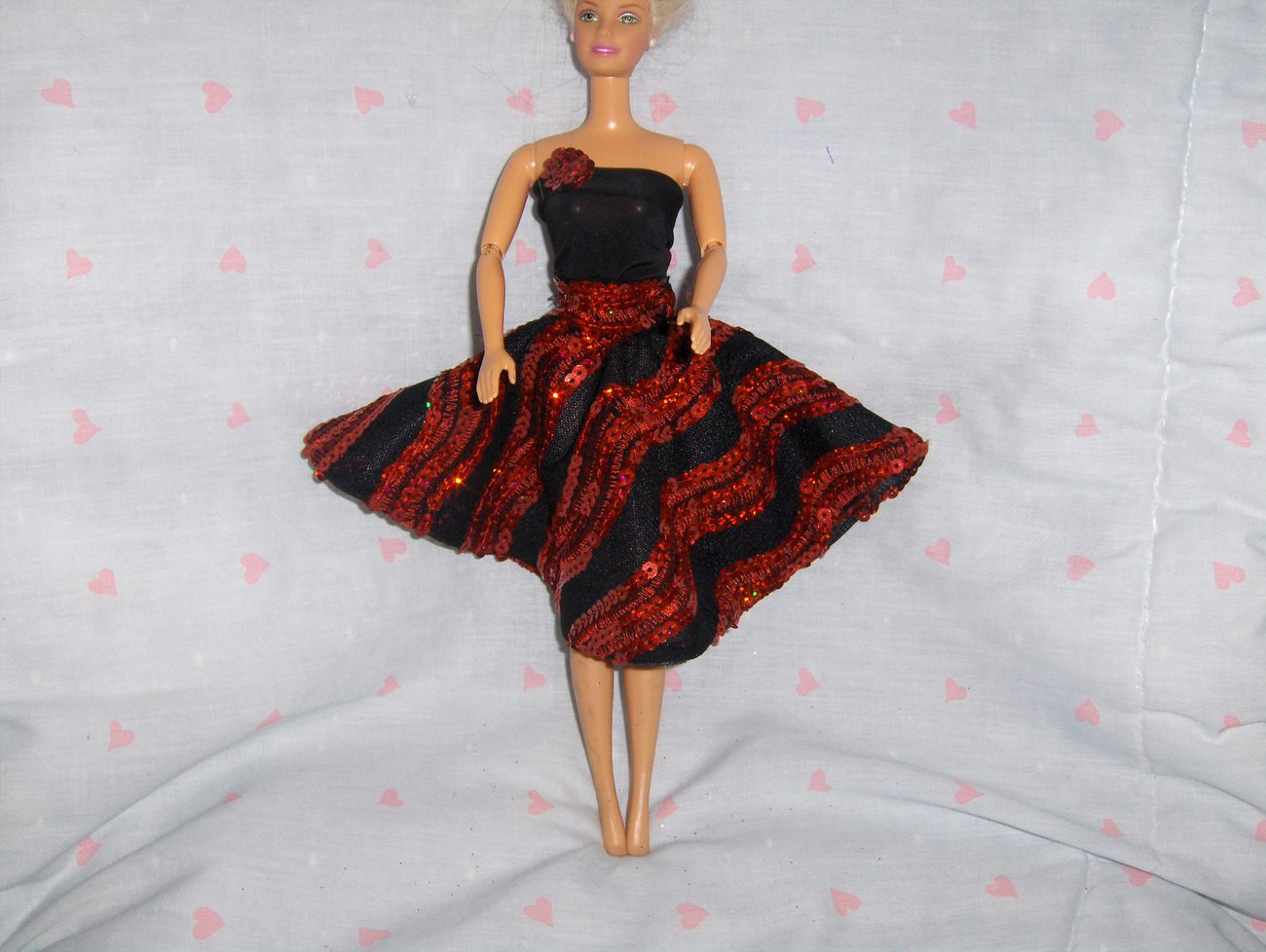 Black Spandex and Knit Party Dress with Iridescent Red Sequins fits Barbie and m