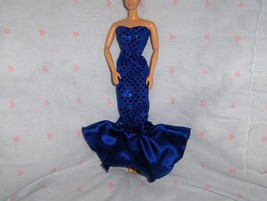 Mermaid Style Gown in Royal Blue Glitter Dot and Satin/ Sequin Accent fi... - $5.95