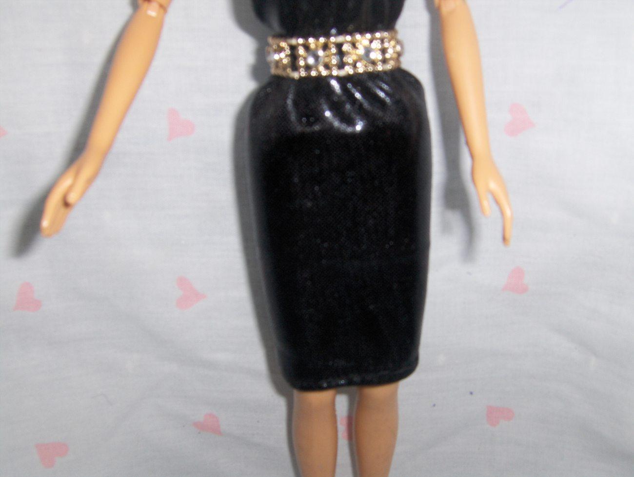 Black Liquid Lame Spandex Doll Dress with Gold and Rhinestone Belt fits Barbie a