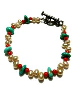 Pearl Turquoise and Red Coral Bracelet Sterling Silver Toggle Clasp R60 - £13.38 GBP