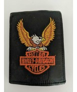 PRE-OWNED HARLEY DAVIDSON MOTORCYCLE EMBROIDERED LEATHER MENS BI-FOLD WA... - $16.82