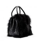 AMAZING BLACK FOX FUR CROCODILE HAND BAG NANCY GONZALEZ 28 CM - $3,718.50