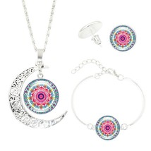 CASHOU01  Mandala Time  Necklace Set OM Symbol Stud Earrings Jewelry Set - $26.86