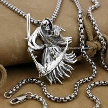 LINSION 925 Sterling Silver Grim Reaper Scythe Death Mens Punk Pendant N... - $89.99+