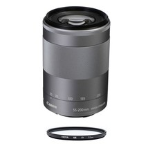 CANON EF-M 55-200mm F4.5-6.3 IS STM Silver (No box) + HOYA UX UV 52mm Fi... - $310.26