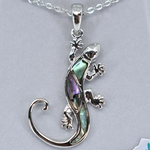 Storrs Wild Pearle Abalone Shell Gecko Lizard Pendant w/ Silver Tone Necklace image 2