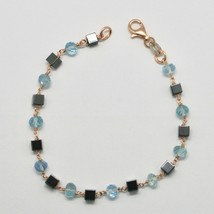 SILVER 925 BRACELET WITH AQUAMARINE FACETED HEMATITE MADE IN ITALY - $77.32