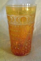 CARNIVAL GLASS  TUMBLER BEADED SPEARS  ANTIQUE 1930s JAIN COLLECTIBLES - $23.36