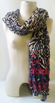 "STELLA & DOT GENUINE Luxembourg Scarf JEWELED ZEBRA Med Weight Rayon 40""... - $14.20"