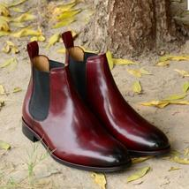 Handmade Men's Burgundy Color Chelsea Leather Boot, Men's High Ankle Leather image 2