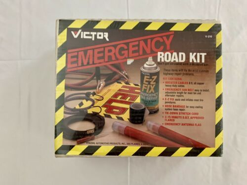 Primary image for VINTAGE ROADSIDE EMERGENCY KIT BATTERY CABLES FLARES etc New Sealed Large
