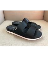 Calvin Klein Diona Black Leather Two Strap Slide Sandals US 9.5 - $18.49