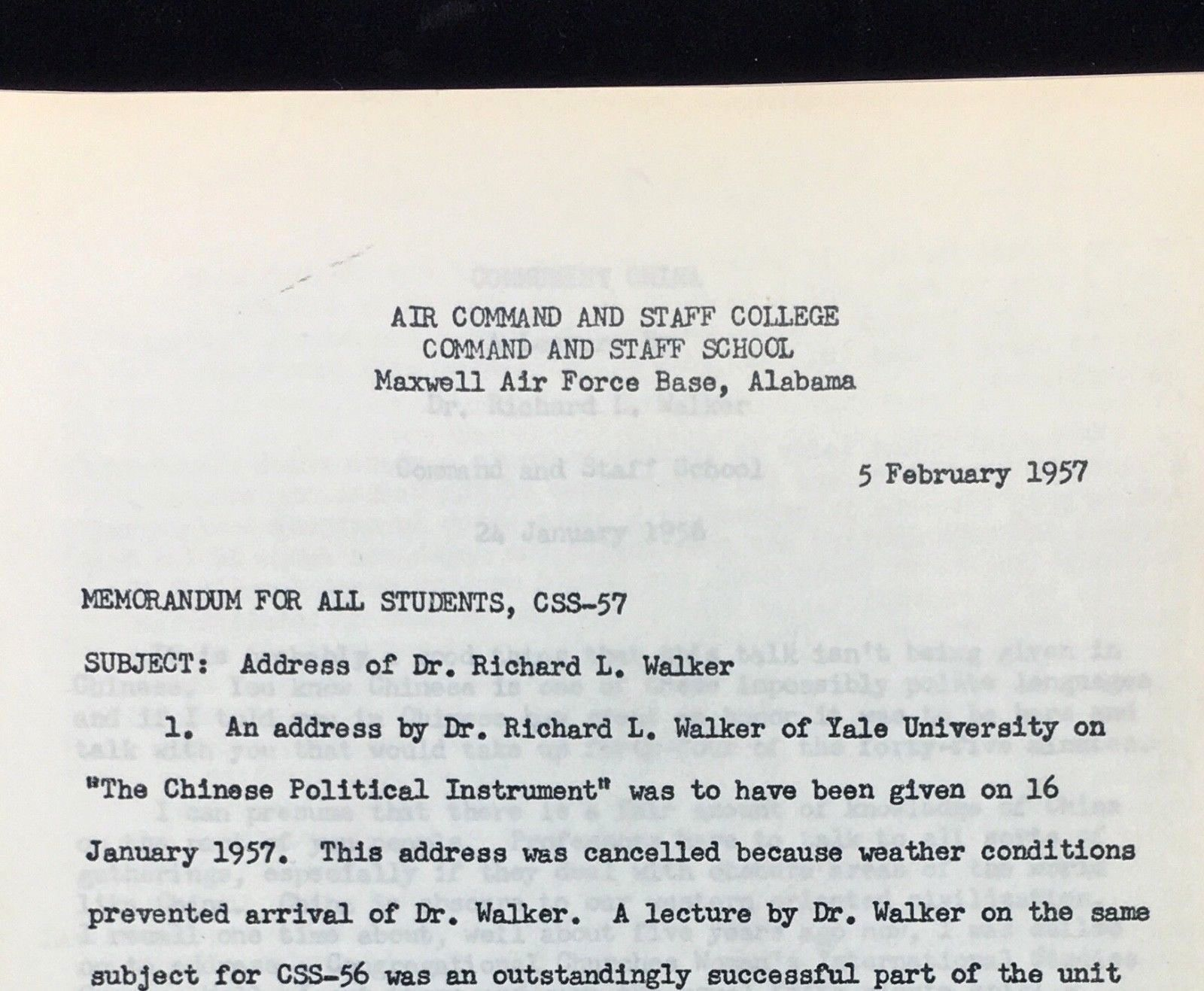 1957 Military USAF Air Force Command and Staff College Alabama Walker Yale China