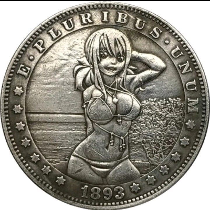 Primary image for Hobo Nickel 1893 US Morgan Dollar Kinky Girl Bikini Sun Casted Coin Anime Beach