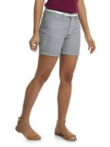 Lee Riders Women's Plus Belted Cuff Shorts Denim Jeans Pocket Striped Be... - $9.75