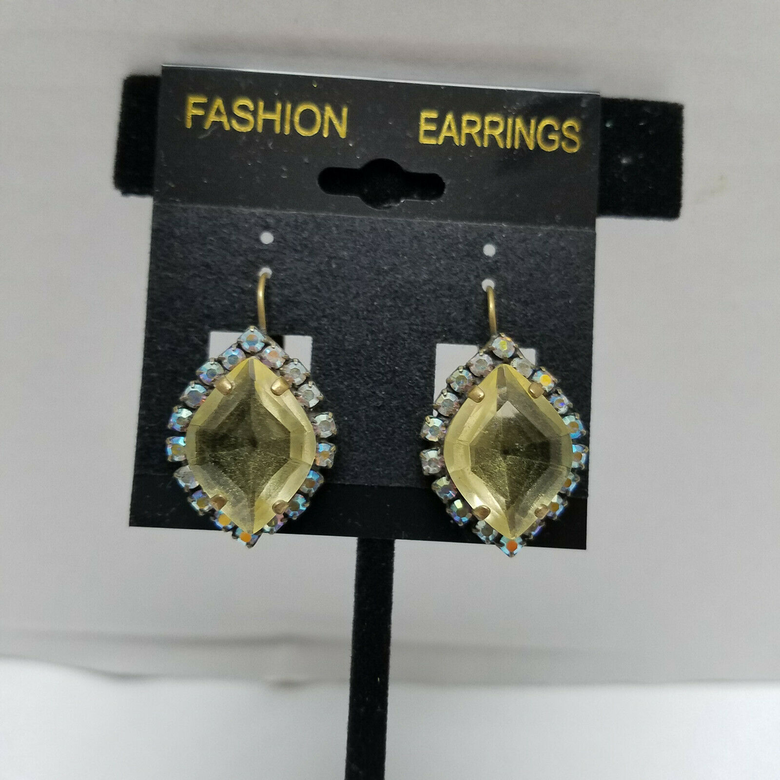 Primary image for Lemon Color Rhinestone Vintage Lever Back Earrings