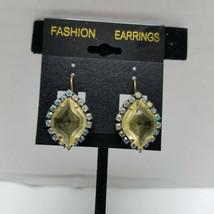 Lemon Color Rhinestone Vintage Lever Back Earrings - $12.86