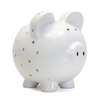 Child to Cherish Ceramic Polka Dot Piggy Bank Confetti - $28.58