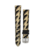 Michele MS16AA090528 Suede 16mm Band Strap, Black W/ Gold - $58.49