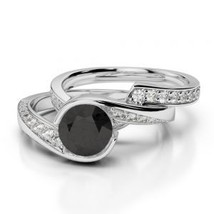 14K White Gold Finish 2Ct Black Simulated Diamond Wedding Halo Bridal Ring Set  - $99.99