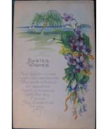Vintage Floral Easter Wishes Poem Post Card - $7.00