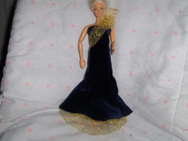 Navy Blue Velour Gown with Gold Net Sash and UnderSkirt fits Barbie and ... - $10.95