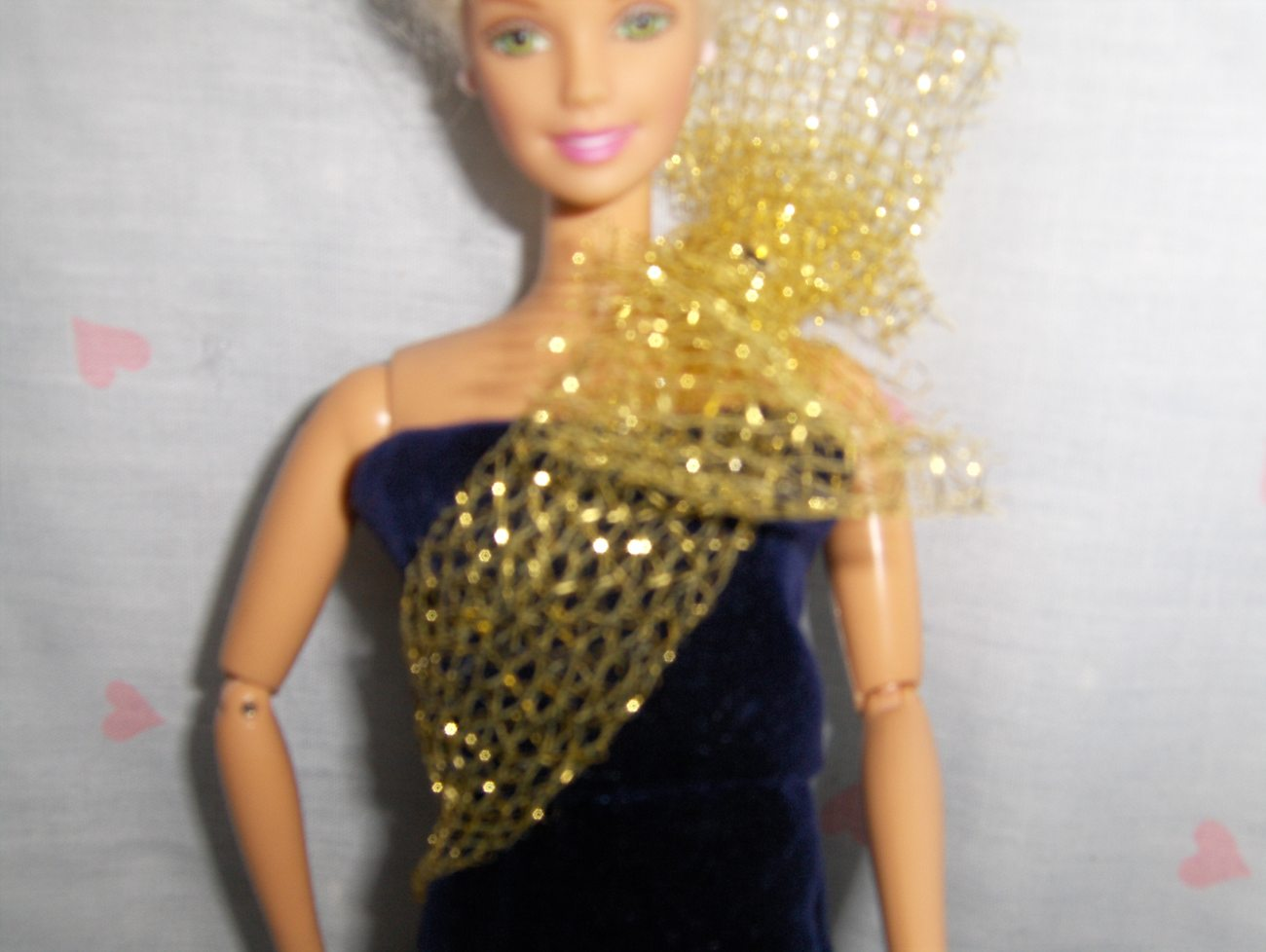 Navy Blue Velour Gown with Gold Net Sash and UnderSkirt fits Barbie and most Fas