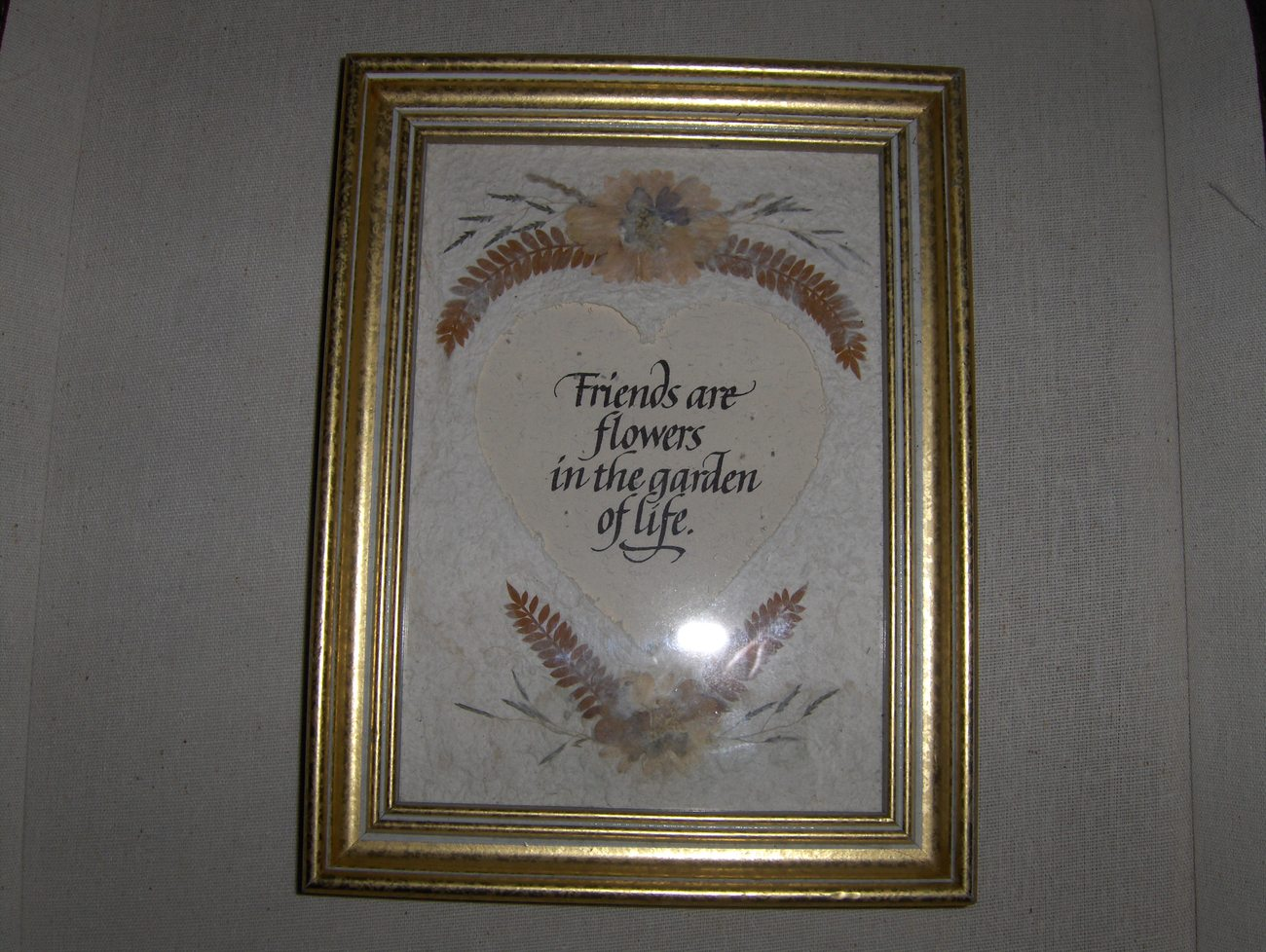 Handmade Paper and Dried Flower Friends Framed Picture