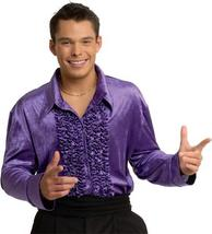 MEN'S VELVET RUFFLED FRONT SMALL L.S. SHIRT IN PURPLE - $30.00