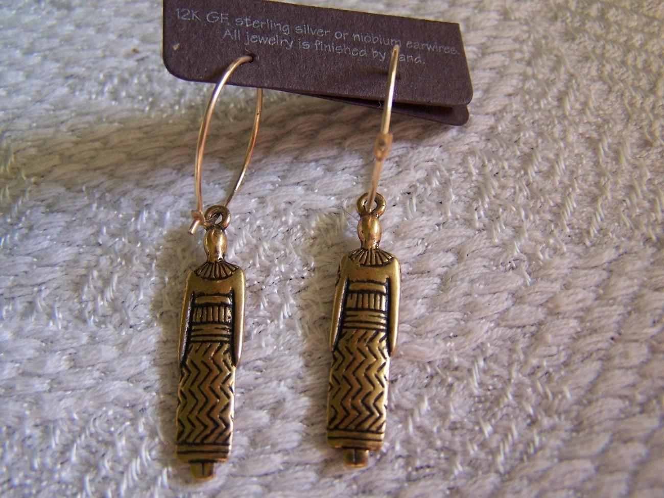 """1994 Laurel Burch """"Woman"""" Gold Filled Earrings (New)"""