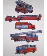 Iron on Fire and Rescue Trucks 5 pc set - $10.00