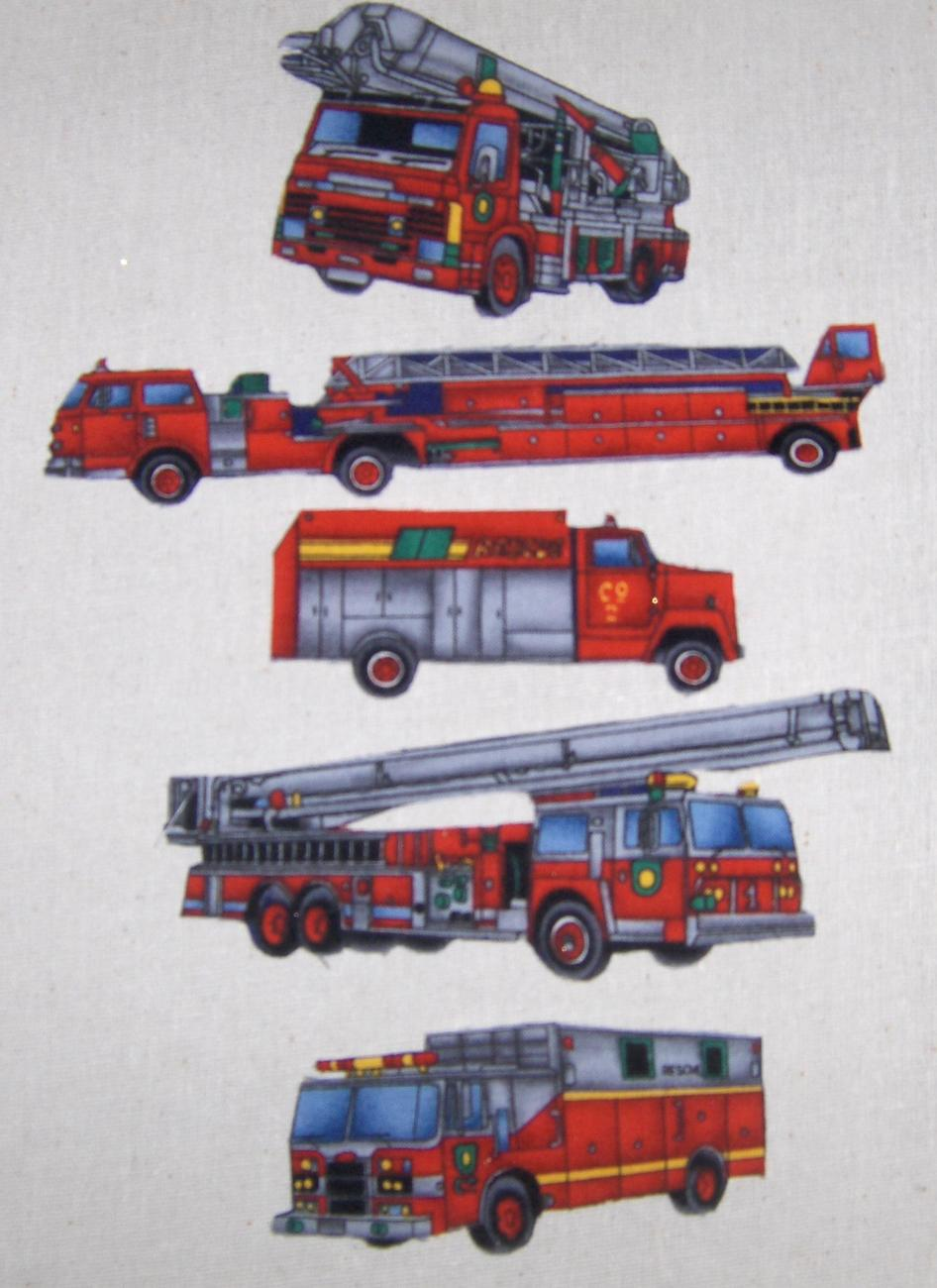 Iron on Fire and Rescue Trucks 5 pc set