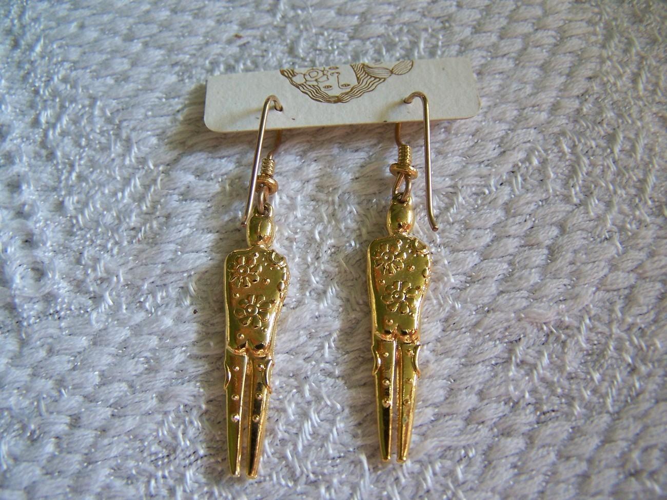 """Original 1994 Laurel Burch """"Man"""" Gold Filled Earrings"""