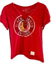 Retro Brand Womens Chicago Blackhawks NHL Hockey V-Neck T-Shirt U.S.A Distre - $15.82