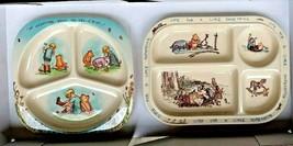 Vtg Disney Winnie Pooh Bear Baby Toddler Divided Plate Set Selandia Melm... - $46.74
