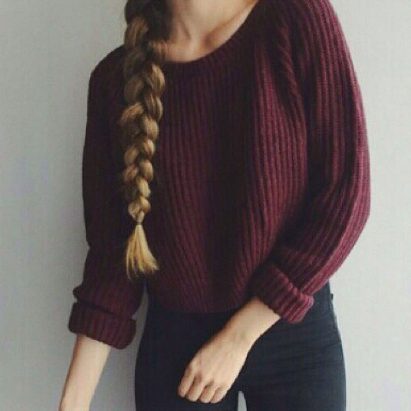 Autumn winter women sweaters and pullovers korean style long sleeve casual crop