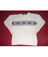 Boys Grey / Navy Snowflake Ribbed Cotton Sweater S/M  - $10.00
