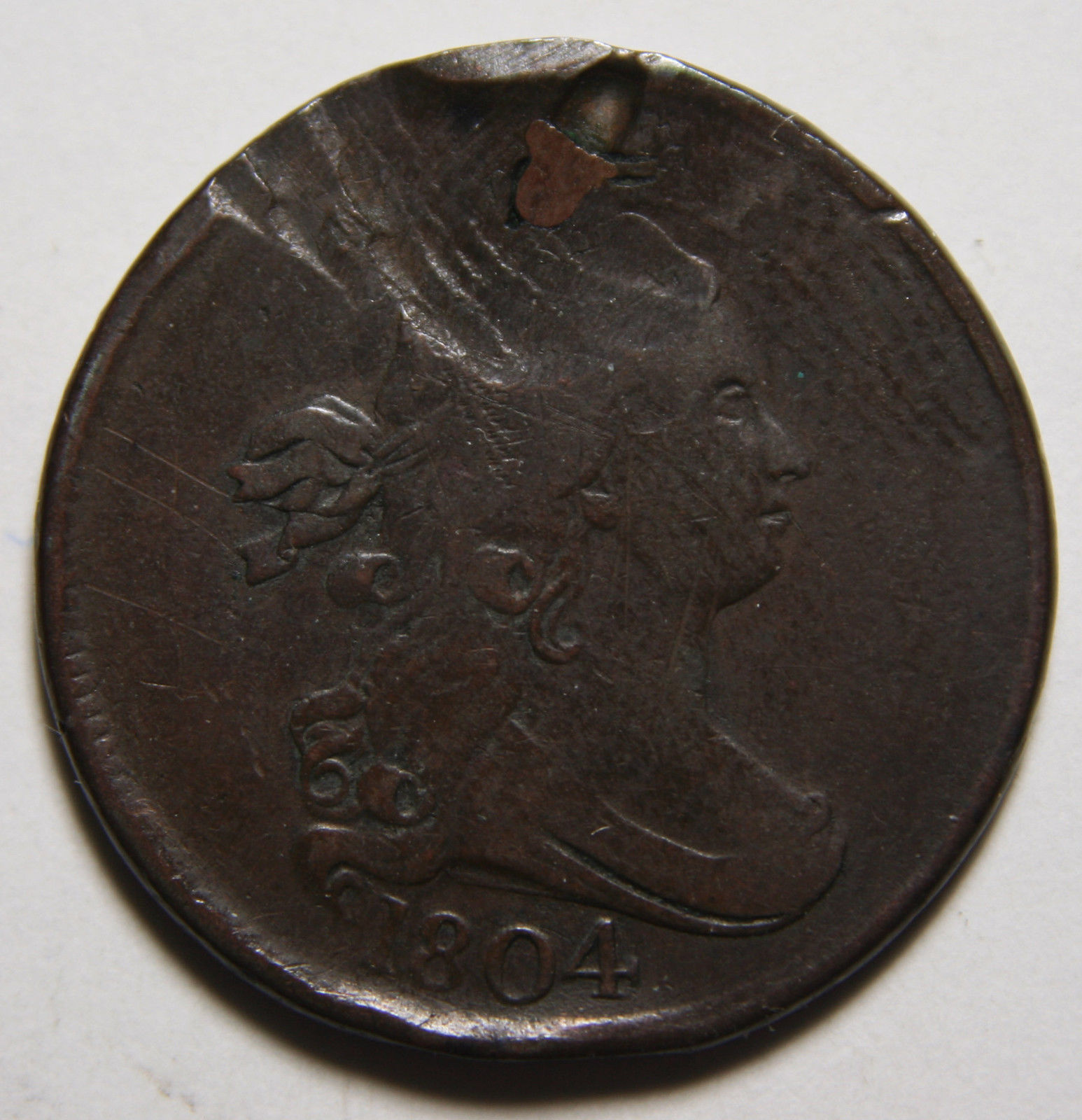1804 Crosslet 4 Draped Bust Half Cent 1/2 Coin Lot # MZ 3449