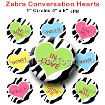 Zebra Convo Heart Valentine's Day Bottle Cap Im... - $2.00