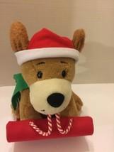 "Hallmark Plush Hound Dog On Sleigh Animated Barks Jingle Bells 9""T - $14.01"