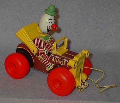 Fisher Price Jalopy with Wooden Clown Childrens Pull Toy 724