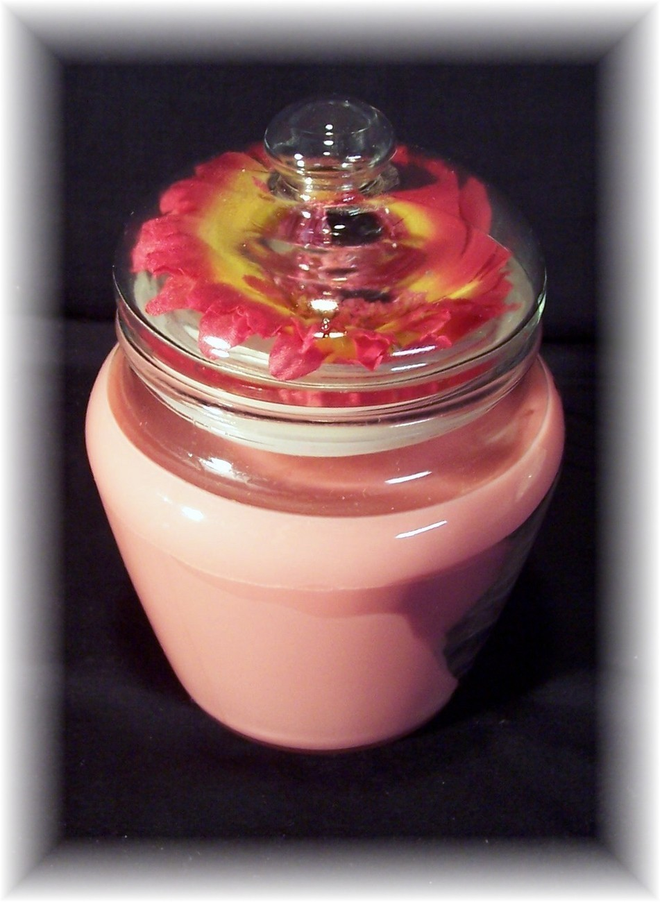 Tangerine jar candle with flower