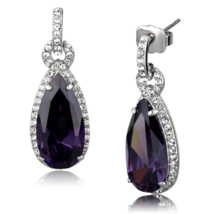 Women's Brass AAA Grade CZ Jet Dangle & Drop Earrings - $22.00