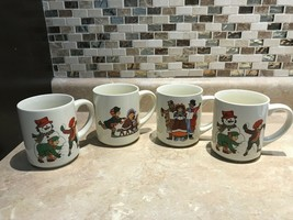 VTG Christmas Porcelain Set of 4 Cups Mugs Vintage Scenes Snowman Carole... - $143.93