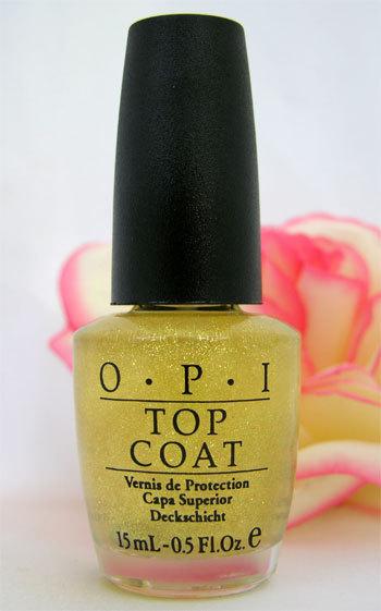 New! OPI Glitter Bit Of Music Top Coat Gold Glitter Nail ...