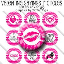 Valentine Sayings Bottle Cap Images Set 1 Inch Circle Digital Chevron A... - $2.00