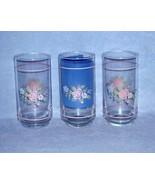 Pfaltzgraff Tea Rose 3 Glass Cooler Tumblers 14 ounce - $13.49