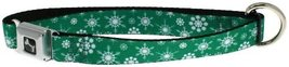 Snowflakes Green Logo Holiday Dog Collar 1-in Wide - $20.99