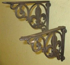 2 Elegant Eastlake Rustic Cast Iron Shelf Brackets Art Deco Ornate Clock... - $59.00
