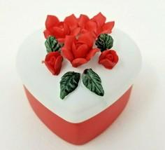 Vintage 1985 Lefton China Red Rose Heart Jewelry Trinket Box - $9.45